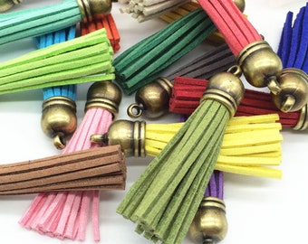 Bronze Cap Tassels, 58mm Long, 10 or 24 Assorted Color Tassels