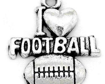 10 Silver Football Charms - I Heart Football