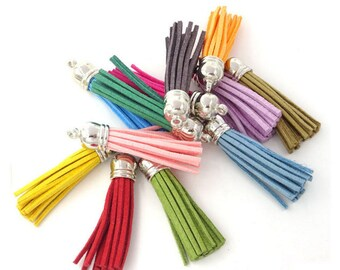 58mm Tassels with Silver Caps, Assorted Colors, 10 or 24 Pieces