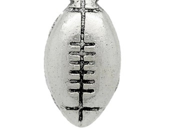20 Small Silver Football Charms