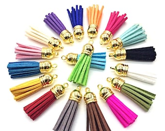 Small Tassels with Gold Caps, 35mm, 12, 25 or 50 Mixed Colors