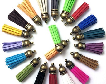 Small Tassels with Bronze Caps, 12 or 25 Color Assortment