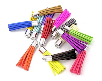 50mm Long Tassels with Silver Caps, Assorted Colors, 10 or 24 Pieces