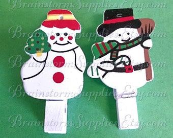 12 Snowman Clothespins - Decorative Snow Man and Snow Woman Note Clips - Wooden Memo Clips
