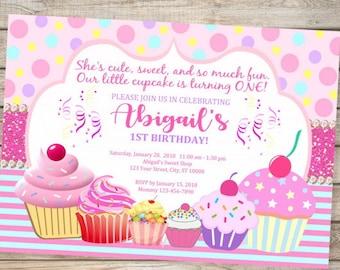 Cupcake invitation etsy cupcake birthday invitation ist birthday or any age printable pink cupcakes first birthday party invitation digital or printed filmwisefo