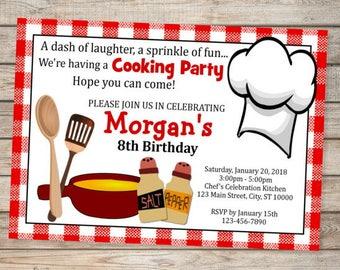 Cooking Birthday Party Invitation, Bistro Theme Cooking Invitation, Chef Birthday Invitation, Cooking Party Invitation, Digital or Printed