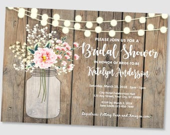 05791ce661b Rustic bridal shower invitation