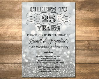 25th Wedding Anniversary Invitation, Silver Bokeh 25th Anniversary Invitation, Silver Sparkle Effect Anniversary Invite