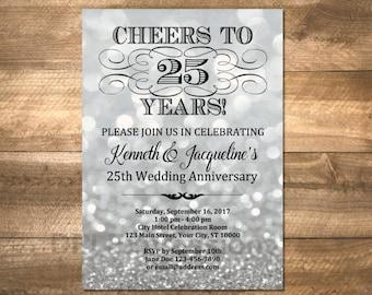 Silberne Hochzeit Jahrestag Einladung, Silber Bokeh 25. Geburtstag Einladung,  Silber Glitter Jubiläum Einladen, DIGITAL Oder Gedruckt