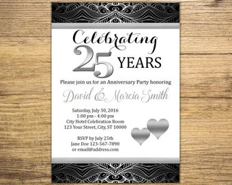 Platinum Wedding Heart 25th Silver Anniversary Party Invitations