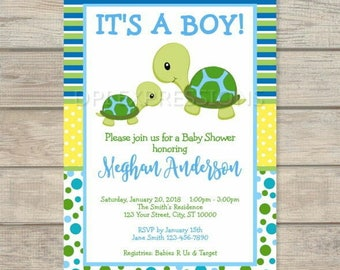 Turtle baby shower etsy turtle baby shower invitation blue and green baby turtle invitation custom mod turtle invitation for baby boy digital or printed filmwisefo