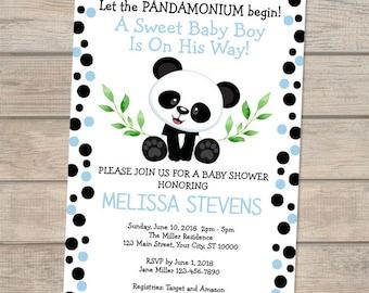 Printable personalized baby shower invitation baby shower etsy panda baby shower invitation for baby boy panda bear baby shower invitation panda and polka dots invitation panda boy baby shower invite filmwisefo