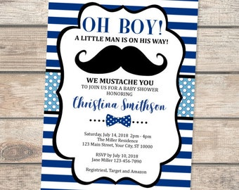 Mustache baby shower invitation etsy mustache baby shower invitation oh boy little man bowtie baby shower invitation navy blue stripes mustache bash bow tie baby shower invite filmwisefo
