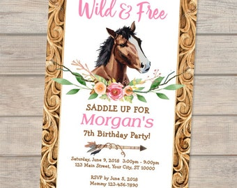 Horse Birthday Invitation Boho Cowgirl Party Equestrian