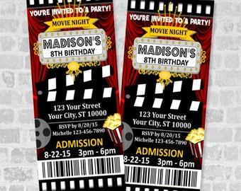 movie ticket birthday party invitation custom movie night party ticket invite digital or printed