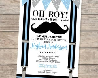 Mustache Baby Shower Invitation Oh Boy Little Man Bowtie Etsy