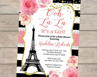 Paris baby shower etsy paris baby shower invitation eiffel tower stripes and flowers girl baby shower invitation french baby shower invitation for baby girl filmwisefo