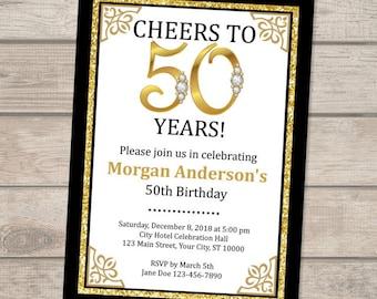 Black And Gold 50th Birthday Invitation 30th 40th Golden Invite Digital Or Printed