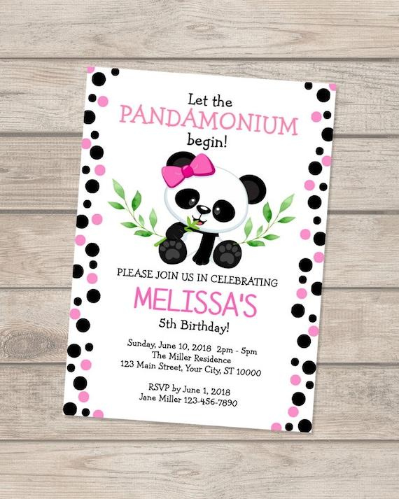 panda birthday invitation girl panda bear invitation panda pink
