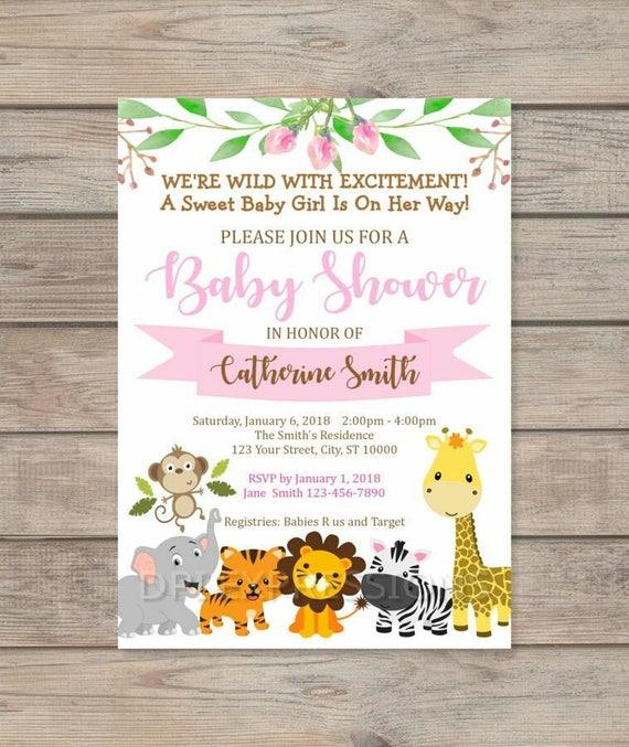 Jungle Animals Baby Shower Invitation Girl Jungle Safari Baby