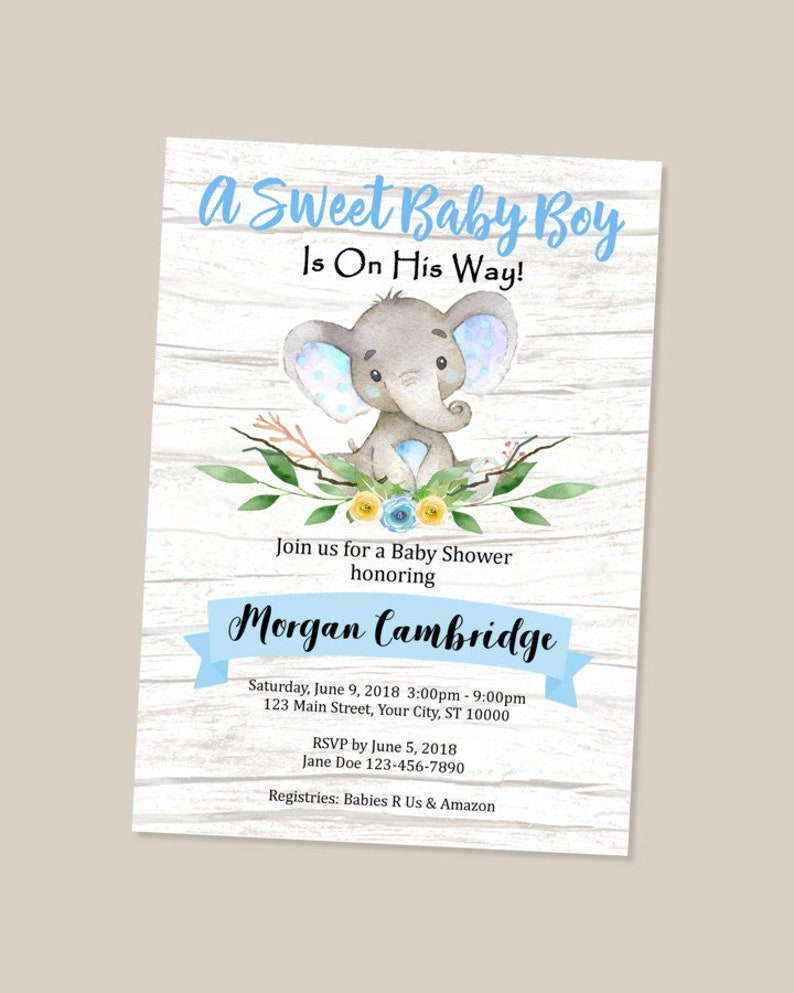 Rustic Elephant Baby Shower Invitation Baby Boy Elephant Baby Etsy