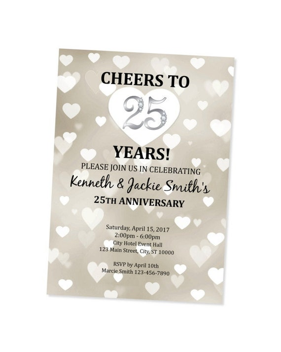 25th Anniversary Invitation Silver Wedding Anniversary Invite Hearts Invitation 25th Wedding Anniversary Invitation 25th Invite
