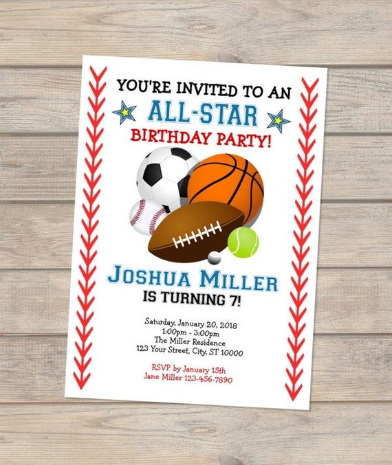 all star sports birthday party invitation allstar sports theme