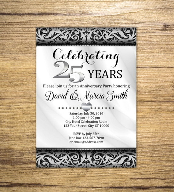 25th silver wedding anniversary invitation silver and black etsy