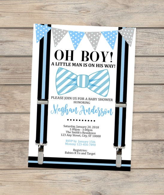 Blue Bow Tie Baby Shower Invitation Oh Boy Little Man Baby