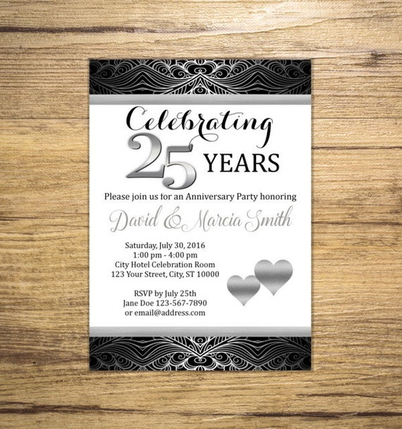 Cheers to 25 Years Silver Sparkle 25th Anniversary Invitation Silver Bokeh Anniversary Invite 25th Wedding Anniversary Invitation
