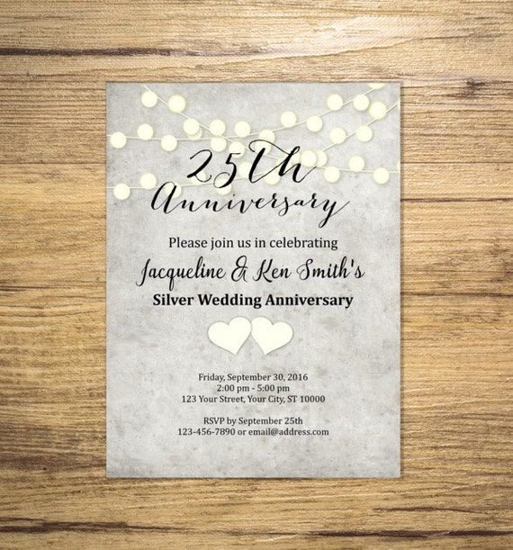 25th Anniversary Invitation String Of Lights Bridal Shower Invite