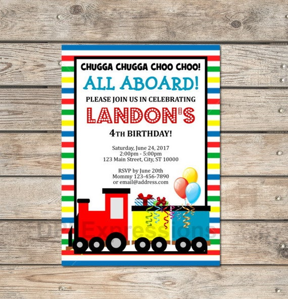 choo choo train invitation custom train birthday party invitation
