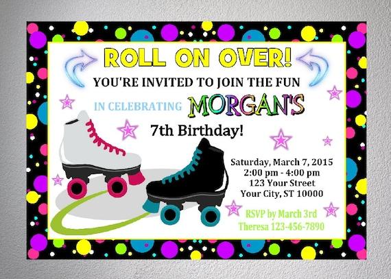 Rollerskating Party Invitation Printable Roller Skate Birthday