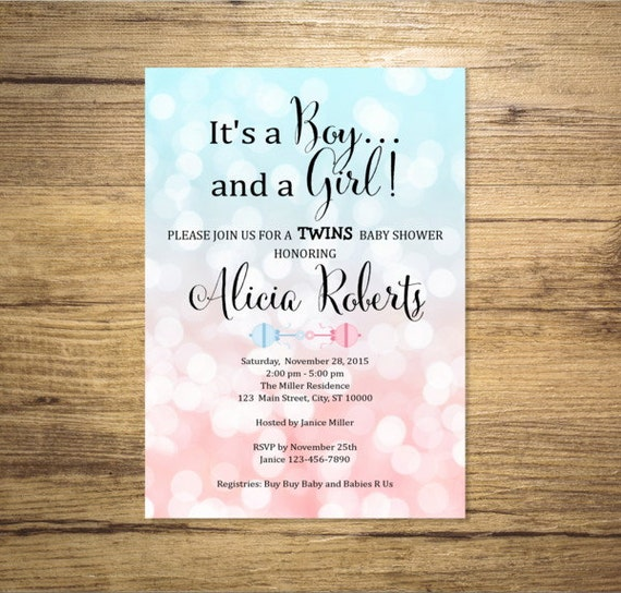Blue And Pink Bokeh Twins Baby Shower Invitation Boy And Girl Twins Sparkle Baby Shower Invitation Digital Or Printed By Dpi Expressions Catch My Party
