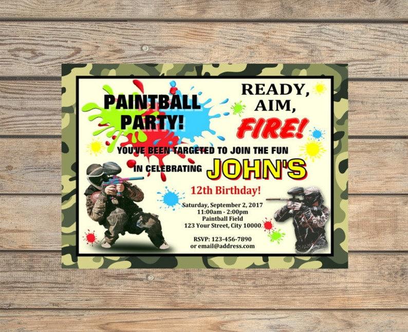 Invitation Fete D Anniversaire Paintball Peinture Personnalisee Boule Theme Invitation Numerique Ou Imprime