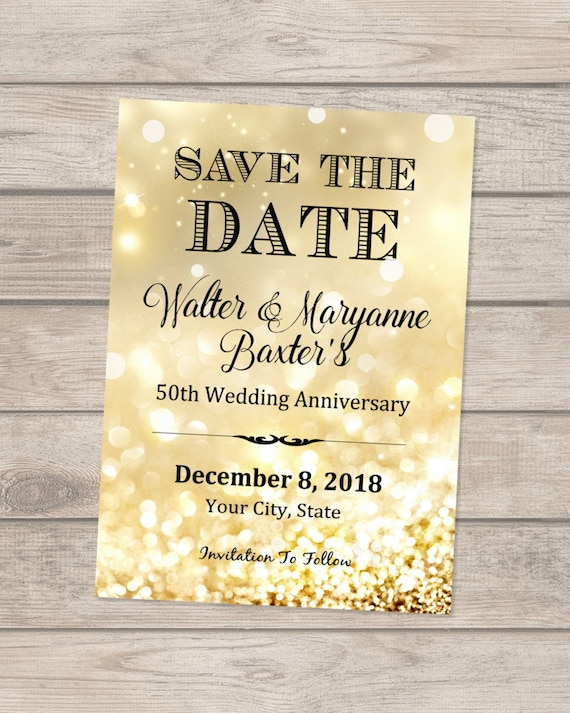 50th anniversary save the date card formal elegant save the etsy