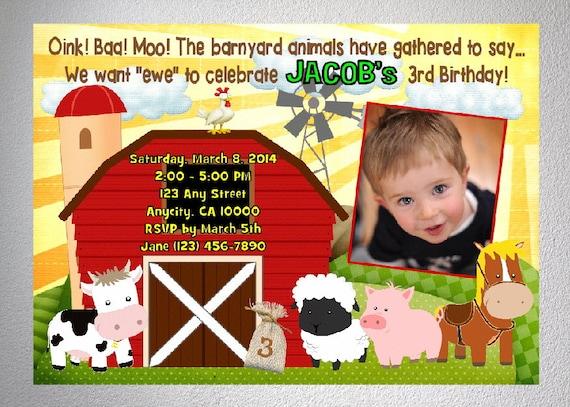 Farm Birthday Invitation Animals Party Invite Barnyard Red Barn