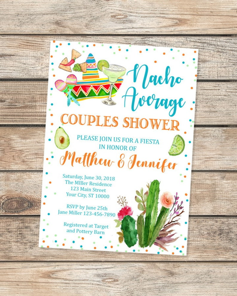 ee6e1a8aad6 Nacho Average Couples Shower Invitation Fiesta Co-Ed Shower