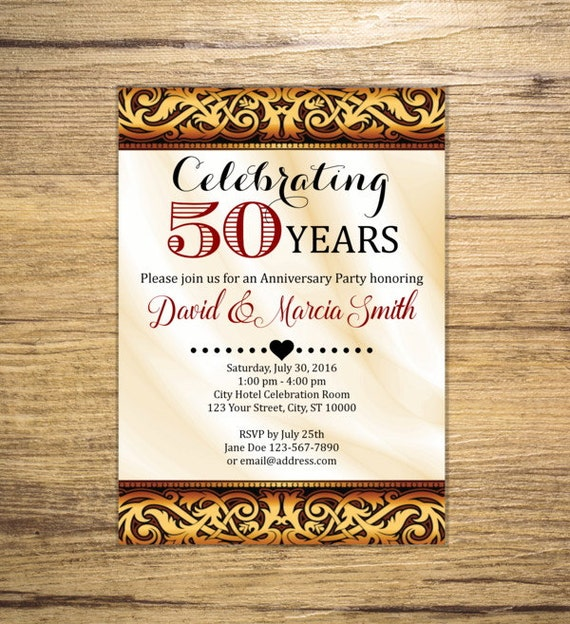 50th Wedding Anniversary Invitation Elegant 50th Anniversary