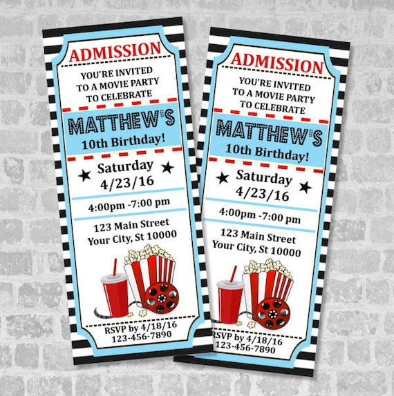 movie ticket birthday party invitation custom vintage style etsy