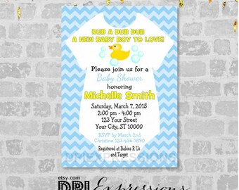 Rubber Ducky Baby Shower Invitation, Boy Baby Shower Invitation, Blue Chevron Baby Shower Invitation, Digital or Printed