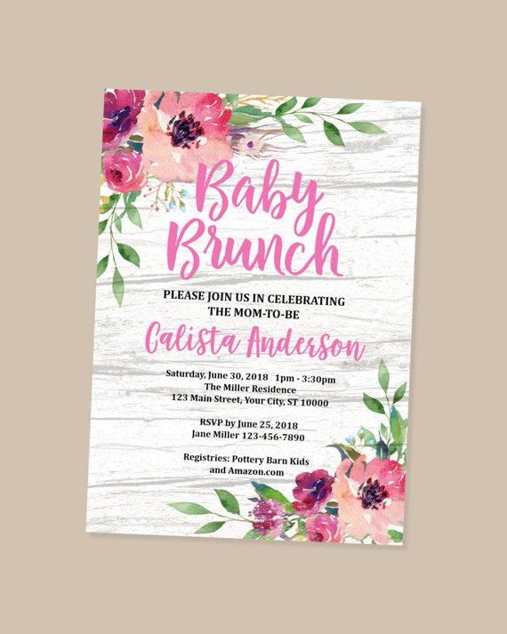 Brunch Baby Shower Invitation Rustic Floral Brunch Baby Girl