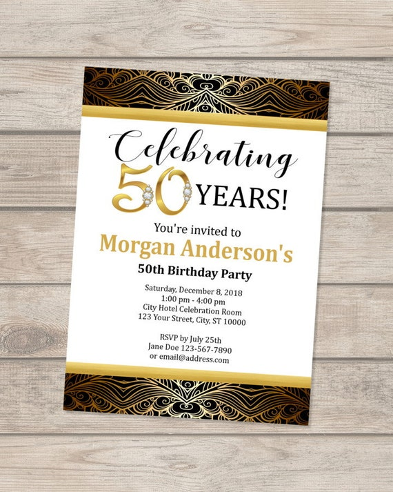 50th Birthday Invitation 30th 40th Black And Gold Golden Invite Digital Or Printed