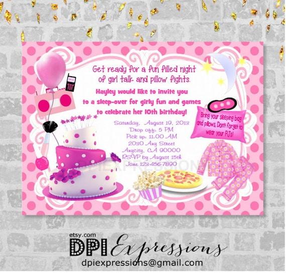 Sleepover Girls Night Birthday Party Invitation Pink Polka Dots Pajama Digital Or Printed