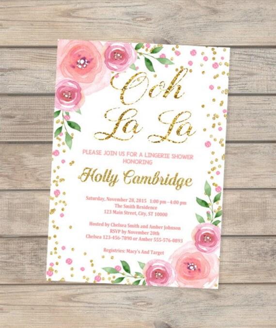Lingerie Shower Invitation Flowers And Confetti Lingerie Bridal