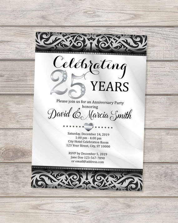 25th Silver Wedding Anniversary Invitation Silver And Black Elegant 25th Anniversary Invite Custom Formal Elegant 25th Anniversary Invite
