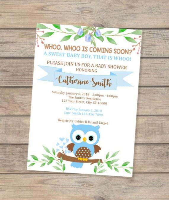 Blue owl baby shower invitation baby boy owl invitation cute etsy image 0 filmwisefo