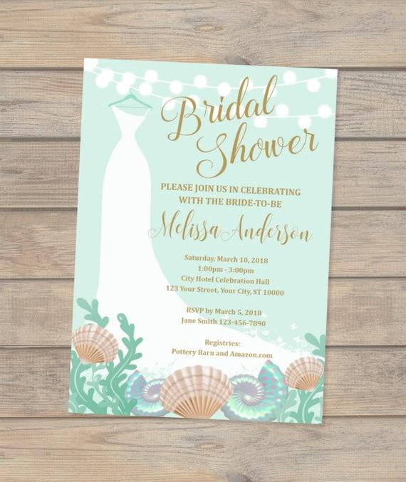 c03b11afb76 Beach Bridal Shower Invitation