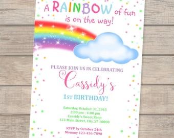 Rainbow Birthday Invitation, Colorful Rainbow Invites, Rainbow And Clouds Invitation, Rainbow Of Fun, Whimsical Rainbow Invitation