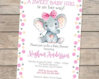 Elephant Baby Shower Invitation, Baby Girl Elephant Baby Shower Invite, Watercolor Elephant Invitation, Polka Dots Elephant Invitation